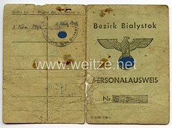 III. Reich / Besetzte Ostgebiete - Bezirk Bialystok - Personalausweis für eine Frau des Jahrgangs 1900
