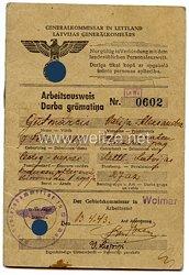 III. Reich - Generalkommissar in Lettland - Arbeitsausweis für eine Frau des Jahrgangs 1919