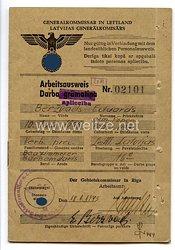 III. Reich - Generalkommissar in Lettland - Arbeitsausweis für einen Mann des Jahrgangs 1905