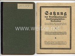 Deutschnationaler Handlungsgehilfen-Verband - Mitgliedsbuch und Satzung