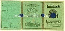 III. Reich - Landhelfer-Brief für einen Mann des Jahrgangs 1909 aus Hüttengesäß