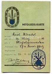 Arbeitsdank Gau 27a ( Saar-Pfalz ) - Mitgliedskarte