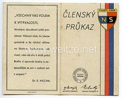 III. Reich - Tschecheslowakei - Narodni Sourucenstvi ( NS ) - Mitgliedsausweis für einen Mann des Jahrgangs 1884