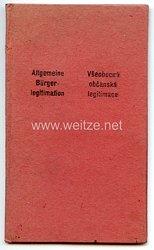 III. Reich - Protektorat Böhmen und Mähren - Allgemeine Bürgerlegitimation für eine Frau des Jahrgangs 1877