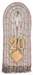 Preußen Einzel Schulterstück für einen Oberleutnant im Infanterie-Regiment Graf Tauentzien von Wittenberg (3. Brandenburgisches) Nr. 20