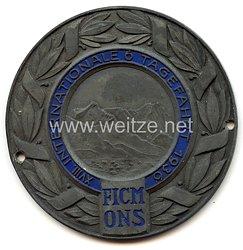 """III. Reich - O.N.S. - nichttragbare Teilnehmerplakette - """" XVIII. Internationale 6 Tagefahrt 1936 FICM ONS """""""