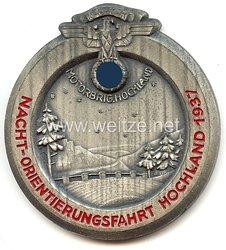"""NSKK - nichttragbare Teilnehmerplakette - """" Motorbrigade Hochland - Nacht-Orientierungsfahrt Hochland 1937 """""""
