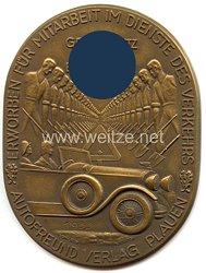 """III. Reich - nichttragbare Teilnehmerplakette - """" Autofreund Verlag Plauen 1933 erworben für Mitarbeit im Dienste des Verkehrs - Gemeinnutz vor Eigennutz """""""