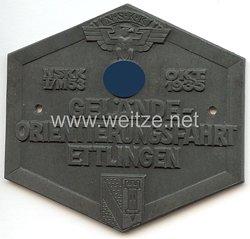 """NSKK - nichttragbare Teilnehmerplakette - """" NSKK I/M53 Okt. 1935 Gelände-Orientierungsfahrt Ettlingen """""""