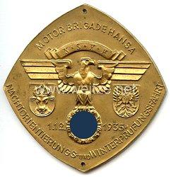 """NSKK - nichttragbare Teilnehmerplakette - """" Motorbrigade Hansa - Nachtorientierungs- und Winterpfüfungsfahrt 1.12.1935 """""""