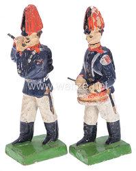 1. Weltkrieg Preussen 2 Musiker in blauer Uniform marschierend ( Pfeifer und Trommler )