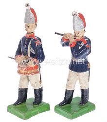 1. Weltkrieg Preussen 2 Grenadier-Musiker in blauer Uniform marschierend ( Pfeifer und Trommler )