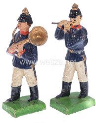 1. Weltkrieg Preussen 2 Musiker in blauer Uniform marschierend ( Pfeifer und Bläser )