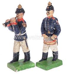 1. Weltkrieg Preussen 2 Musiker in blauer Uniform marschierend ( Trommler und Klarinettenbläser )