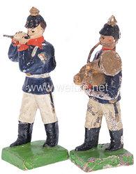1. Weltkrieg Preussen 2 Musiker in blauer Uniform marschierend ( Pfeifer und Bläser mit kleinem Bass )