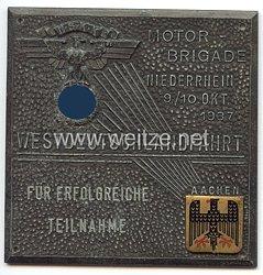 """NSKK - nichttragbare Teilnehmerplakette - """" NSKK Motorgruppe Niederrhein Westdeutschlandfahrt 9./10. Okt. 1937 - Für erfolgreiche Teilnahme """""""