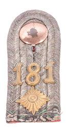 Königreich Sachsen Einzel Schulterstück für einen Oberleutnant im Königlich Sächsischen 15. Infanterie-Regiment Nr. 181