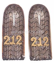 Preußen Paar Schulterstücke für einen Leutnant imReserve-Infanterie Regiment Nr. 212