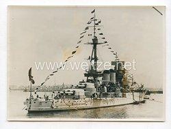 """3. Reich Pressefoto: Admiralsschiff """"Conte die cavour"""" in Neapel 5.5.1938"""