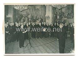 3. Reich Pressefoto: Staatspräsident Lebrun übernimmt auf weitere sieben Jahre die französische Staatspräsidentschaft. 6.4.1939
