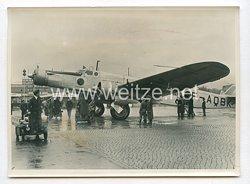 3. Reich Pressefoto: Frankreich grösstes Verkehrsflugzeug in Berlin (Devoitine 338)