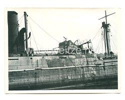 Wehrmacht Pressefoto: Zerstörter englischer Dampfer auf der Seine, Frankreich