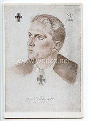 Luftwaffe - Willrich farbige Propaganda-Postkarte - Ritterkreuzträger Graf Kageneck