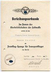 Frontflug-Spange für Transportflieger in Gold - Verleihungsurkunde