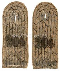 Preußen 1. Weltkrieg Paar Schulterstücke Feldgrau für einen Leutnant imReserve-Infanterie-Regiment Nr. 204