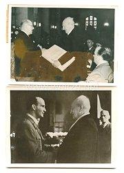 3. Reich Pressefoto: 2 Fotos, Feierliche Ehrung von Gerhardt Hauptmann in Breslau in Anwesenheit des Gauleiters Hanke
