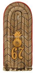 Preußen Einzel Schulterstück für einen Leutnant im 2. Unter-Elsässischen Feldartillerie-Regiment Nr. 67