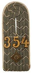 Preußen 1. Weltkrieg Einzel Schulterstück Feldgrau für einen Oberleutnant im Infanterie-Regiment Nr. 354