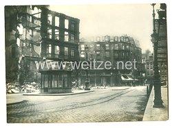 1. Weltkrieg Deutsches Heer Pressefoto: Zerschossene Häuser in Lille