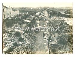 1. Weltkrieg Deutsches Heer Pressefoto: Eine Kolonie deutscher Unterstände