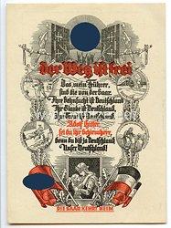 """III. Reich - farbige Propaganda-Postkarte - """" Der Weg ist frei - Adolf Hitler sei Du ihr Schirmherr - Die Saar kehrt heim """""""