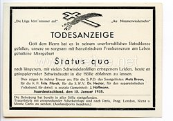 """III. Reich - Propaganda-Postkarte - """" Todesanzeige - Status quo - Zur Erinnerung an die Saarabstimmung 13.1.1935 """""""