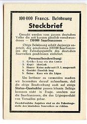 """III. Reich - Propaganda-Postkarte - """" 100 000 Francs. Belohnung - Steckbrief - Zur Erinnerung an die Saarabstimmung 13.1.1935 """""""