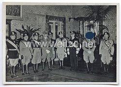"III. Reich - Propaganda-Postkarte - "" Staatsbesuch des Führers in Rom "" ( Mussolini - Heß )"
