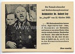 """III. Reich - Anti-Hitler Propaganda-Postkarte - """" Der Normalverbraucher und Reichswohnungskommissar Reichsleiter Dr. Robert Ley …"""""""