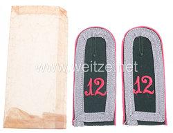 Wehrmacht Heer Paar Schulterklappen für einen Unterfeldwebel Panzerabwehr - Abt. Nr. 12