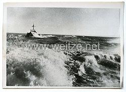 Kriegsmarine Pressefoto: Minenräumboote Äusserste Kraft voraus