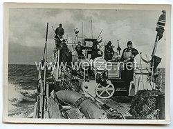 Kriegsmarine Pressefoto: Minenräumboot bei der Arbeit 15.10.1940