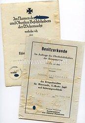 Kriegsmarine - Urkundenpaar für einen Matrosengefreiten in Norwegen
