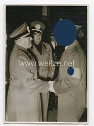 3. Reich Pressefoto: Der Führer Adolf Hitler beim Abschied von Mussolini 30.9.1938