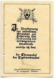 Kriegsmarine - Verleihungsurkunde für die Ehrennadel des Tigerverbandes
