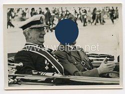 """3. Reich Pressefoto: Reichsverwesers Horthy und Adolf Hitler bei dem Stapellauf des """"Prinz Eugen"""" 22.8.1938"""