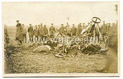 1. Weltkrieg Fliegerei: Foto eines abgestürzten Flugzeuges