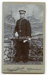 Foto Kaiserliche Marine: kleines Kabinettfoto eines Seesoldaten des II. See- Bataillons
