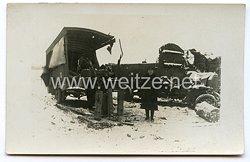 Deutsches Kaiserreich 1. Weltkrieg Foto, beschädigter LKW