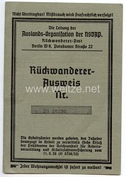 Auslands-Organisation der NSDAP - Rückwandereramt - Rückwandererausweis für eine Frau des Jahrgangs 1905 aus Frankfurt/Main